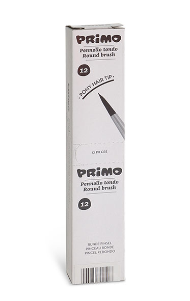 Pony hair round-tip-ped brush. Suitable for watercolour and poster paint. N. 2